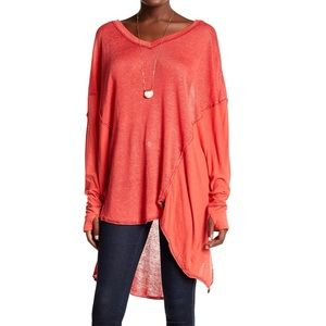 Free People Never Give Up Dolman Linen Blend Tunic